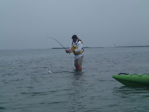 Wading from kayak in Rockport, Texas